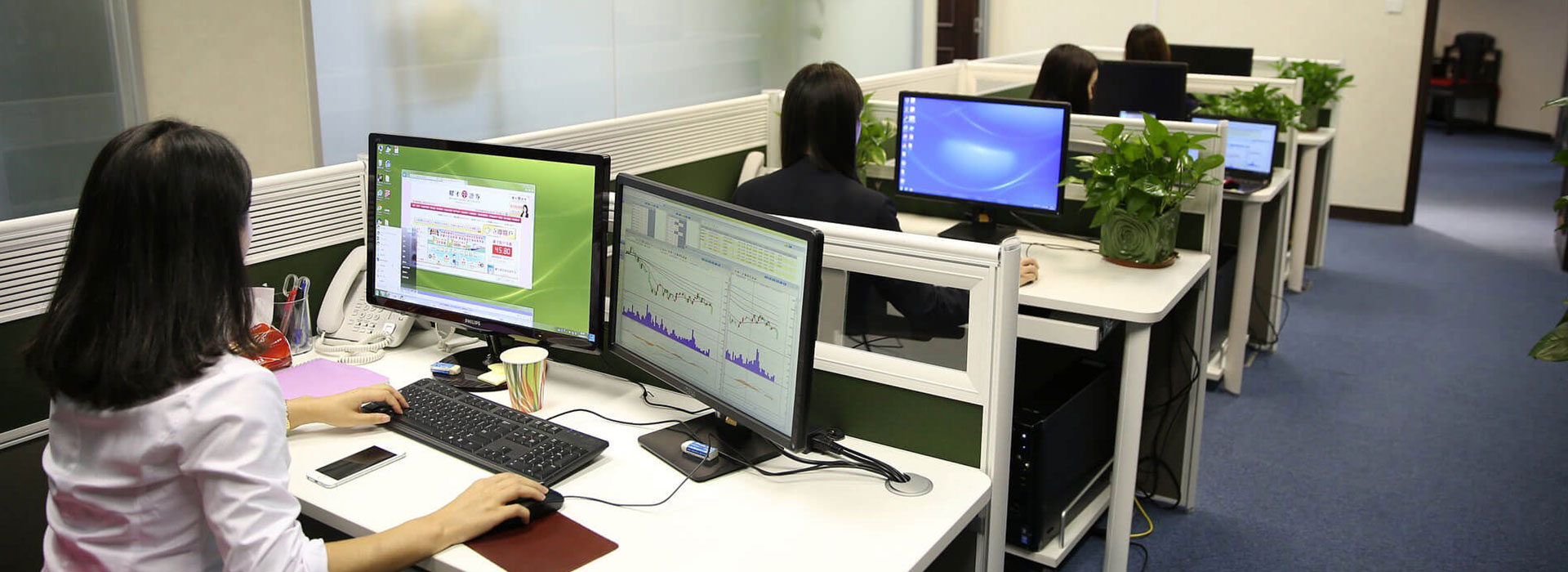 Business fibre in use in an office