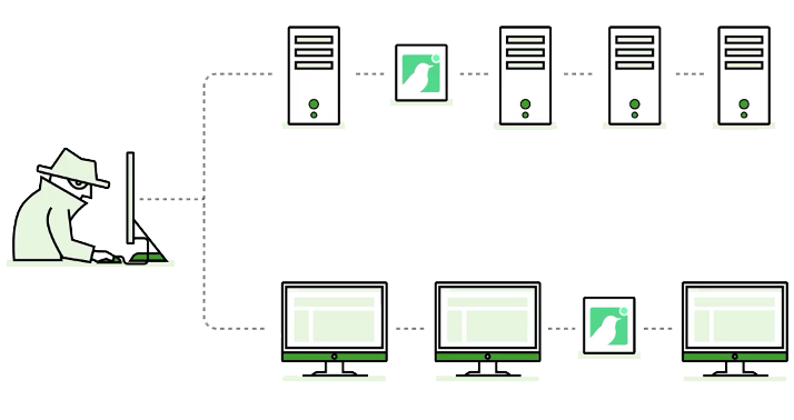 Breach detection solution network of computers and servers